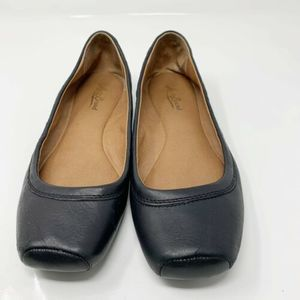 Lucky Brand Santana Black Ballet Toe Flats Leather